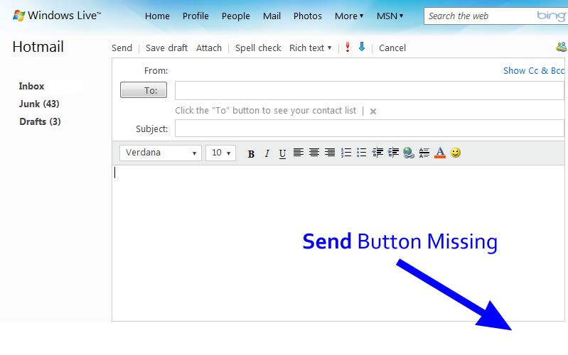 hotmail button missing